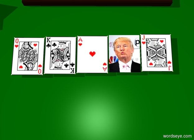 Input text: [trump] card is on a table. a second card is on the table. a third card is on the table. a fourth card is on the table. a fifth card is on the table