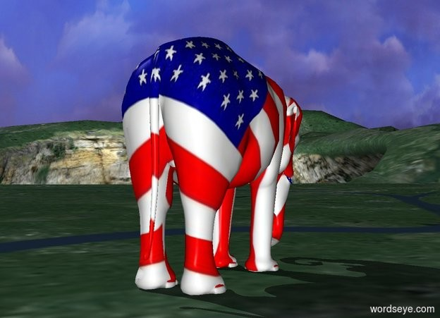 Input text: The [flag] elephant is facing backwards.