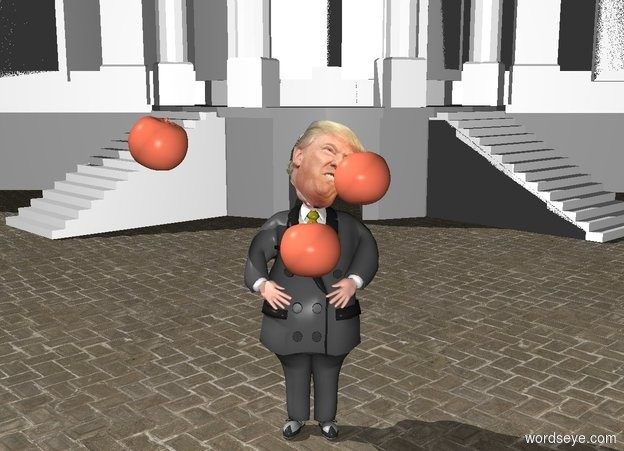 Input text: a man. a head is -1.1 foot above and -1 foot in front of and -2.5 foot to the left of the man. a 1st huge peach tomato is -2.5 feet above and -1 feet in front of the man. it leans to the back. a 2nd huge peach tomato is -1.2 feet above and -1 foot to the right of the man. it leans to the back. a 3rd huge peach tomato is -.5 foot above and 1 foot to the left of the man. it leans to the left. a building is 20 feet behind the man.