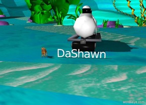 a dog is two feet from DaShawn. a train is 5 feet behind DaShawn