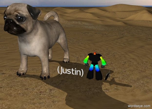 Input text: (Justin).  a rainbow  robot.  gigantic pug.   fish.