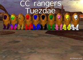 "red lion. blue lion. black lion. green lion. hot pink lion. yellow lion. white lion. ""Tuezdae"" is above the lions. ""CC rangers"" above ""Tuezdae"". gold lion. rainbow lion. purple lion."
