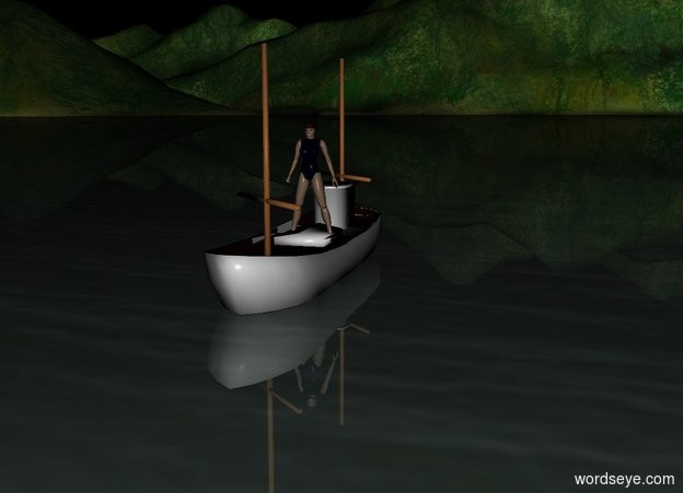 Input text: It is night. There is a small fishing boat. on the boat is a small girl.