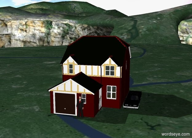 Input text:  There is a house. There is a man in front of the house. There is a car right of the house .