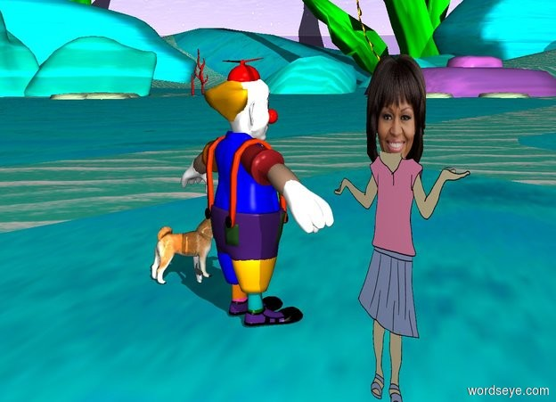 Input text: Michelle Obama has a dog on her lap