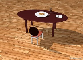 There is a brown table. On the table is a big white plate. There is a glass on the right and behind the plate. The ground is wood. The sky is wood. There is a cutlery on the right of the plate. There is pizza on the plate. There is a book 1 feet on the right of the cutlery. There is a chair in front of the table. The chair is facing to the table