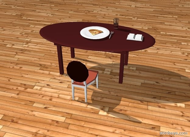 Input text: There is a brown table. On the table is a big white plate. There is a glass on the right and behind the plate. The ground is wood. The sky is wood. There is a cutlery on the right of the plate. There is pizza on the plate. There is a book 1 feet on the right of the cutlery. There is a chair in front of the table. The chair is facing to the table
