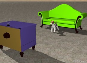 the mauve television is several feet in front of the dog. it is facing the dog. The chartreuse couch is behind the dog. the ground is tile.