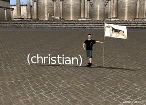 (christian) Boy on the left of a dog USA flag