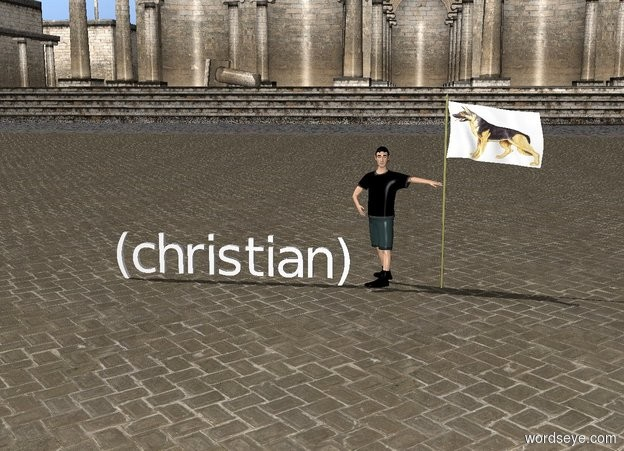 Input text: (christian) Boy on the left of a dog USA flag
