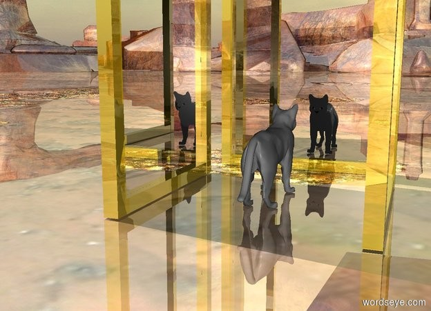 Input text: the big light grey cat is 2 feet in front of the huge gold mirror. The cat is facing at the mirror. the ground is shiny. There is a huge gold mirror 2 feet left of the cat. It is facing at the cat. There is a huge gold mirror 2 feet right of the cat. It is facing at the cat