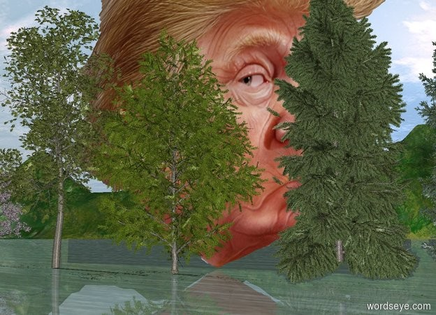 Input text: The humongous head is behind the 5 small trees.
