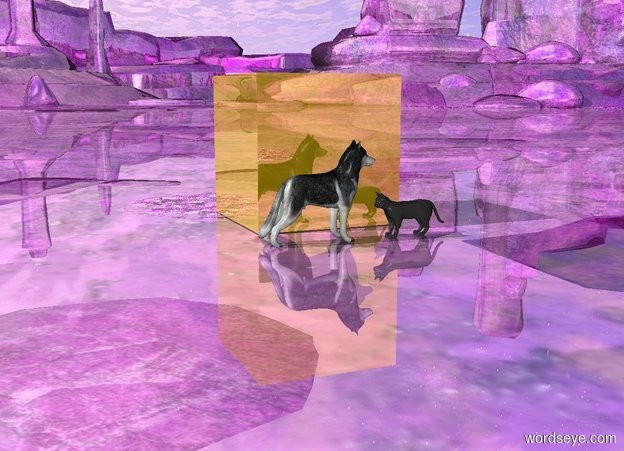 Input text: The dog is facing on the cat. The cat is facing on the dog. The ground is purple and shiny. There is a huge gold cube one foot behind the dog and the cat.