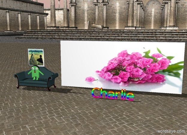 """Input text: The [garden] wall is 5 feet behind   rainbow """"Charlie"""".   The painting is above the couch. The calico cat is on the couch."""