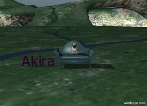 """purple  """"Akira"""" . A big dog is on the couch."""