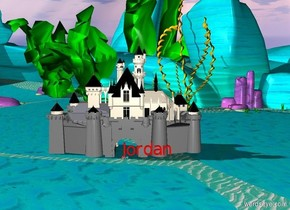 "castle behind blue and red 10 feet tall ""Jordan"""