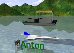 "a big Green ""Anton"".   cat is 1 foot to the left of ""Anton"".  a tiny plane 10 feet behind ""Anton"" . it is facing right.  a boat 4 feet above the plane.  it is facing left."