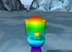 rainbow cat in rainbow toilet.