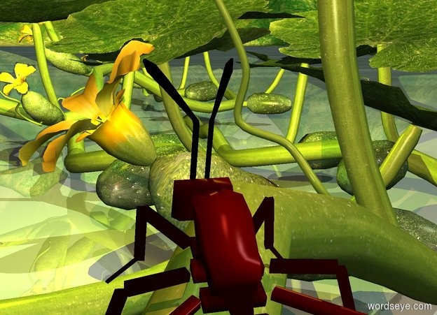 Input text: a 1st plant. an ant is -1.12 foot above and -1.75 foot in front of the plant. it leans to the back. a 2nd plant is -1 foot in front of the 1st plant. a tiny yellow light is .5 foot in front of the ant. a tiny copper light is above the ant. a cucumber is -2 foot to the right of the 1st plant.
