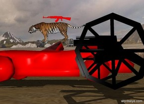a large red gun is on a large tiger which is on a large red car 7 feet to the left of a large black gun