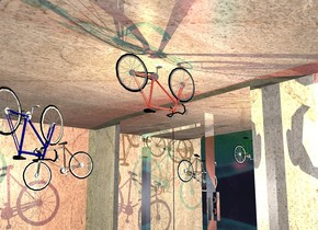A shiny maroon 10 speed bicycle is upside down. It is 10 feet above the ground. It is facing north. A large [plaster] wall is on the bicycle. It is leaning 90 degrees to the back. A large [plaster] wall is behind the wall. It is on the ground. A large silver door is -21 feet left of and in front of the wall. A large 60% dark [plaster] wall is left of the wall. It is facing east. A khaki light is left of the bicycle. The sky is [abstract]. The ground is silver. An upside down bicycle is 2 feet in front of the door. It is 7.5 feet above the ground. A navy bicycle is behind and 2 feet right of and 2 feet below the bicycle. It is upside down. It is facing the door. A scarlet light is 7 feet behind the bicycle. 3 dim cyan lights are 8 inches behind the light. A silver bicycle is 6 feet left of and behind and -4 feet above the bicycle. It is leaning 15 degrees to the front. A dark green bicycle is 2 feet in front of and -1 foot above the bicycle.
