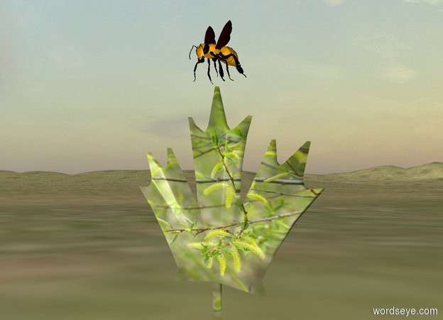 Input text: The bee is on the [leaf] leaf. The ground is grass.