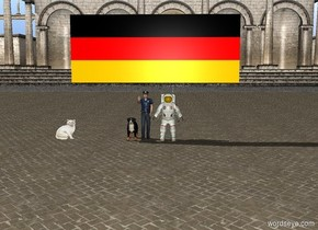 There is a German wall on a dog  and people. There is a cat by the people.