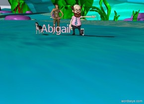 """small """"Abigail"""" is pink. A small dog beside """"Abigail"""". A phone is 1 feet  to the right of """"Abigail"""". a small  kid behind """"Abigail"""". a small Teacher on the right of """"Abigail""""."""