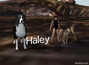 "Ava by big dog.  the sky is cloud. ground is a forest. animals by her. ""Haley"""