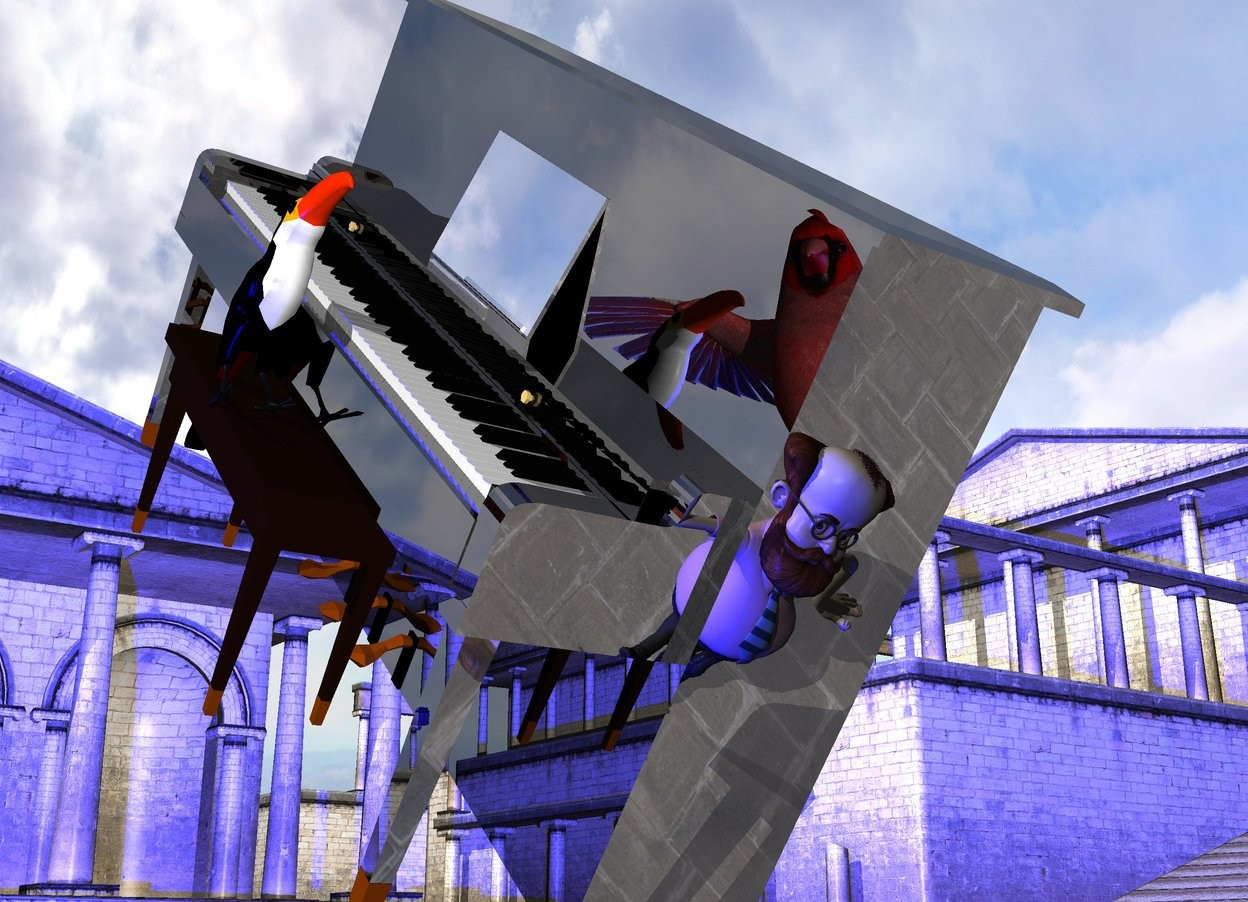 Input text: the black shiny piano is 2 feet above the ground. it is facing left. it is leaning 40 degrees to the left. the ground is shiny. the very enormous red bird is 5 feet to the left and -1 foot behind the piano. it is -6 inches above the piano. it is facing the piano. the music stand of the piano is silver. the second bird is -4.4 feet above and -6 inches to the left of the piano. it is 14 inches tall. the 3 blue lights are on the ground.  the small man is -1 feet in front of the piano. he is -1 inches to the right of the piano. he is on the ground. he is facing back. he is leaning 20 degrees to the back.