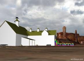 "rainbow ""brianna"". a small rainbow horse. a small white and black barn."