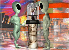 a log.a cage is on the log.a 12 inches tall man is -1.6 feet above the cage.a 1st alien is left of the log.a 2nd alien is right of the log.the 1st alien is facing the log.the 2nd alien is facing the log.the log is stone.the cage is metal.a building is 20 feet behind the log.the sky is [abstract].the building is shiny.the ground is shiny.a white light is in front of the man.