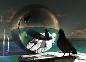 An enormous pigeon is in a 0.1 inch high [metal] pond. The ground is shiny [electric]. Camera light is black. 8 small lights are -4 feet above and -2 feet left of and behind the pigeon. A humongous silver sphere is 2 feet left of the pigeon. A shiny large dark thin tree is 100 feet left of and 30 feet behind the pigeon. 3 huge navy lights are in the tree. The azimuth of the sun is 20 degrees. The altitude of the sun is 20 degrees. 3 small cream lights are behind the pigeon. A navy light is in front of the sphere. A 15 foot high black shiny tree is -6 feet right of the tree. It is facing east. A large navy light is in the tree. A humongous black bird is 40 feet in front of and 20 feet above the sphere. It is facing east. It is leaning to the front. A 100 feet wide and 400 feet high clear blue lightning bolt is above and behind and 50 feet left of the bird. It is upside down. It is dusk.