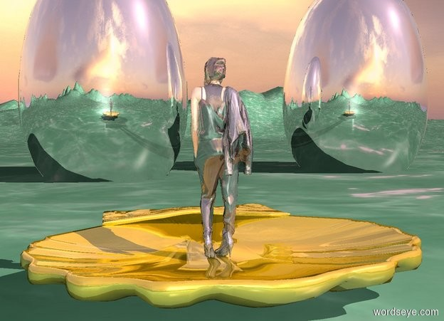 Input text: a 10 feet tall gold shell.the shell is face down.a woman is -10 inches above the shell.the woman is shiny.the ground is sea green.the ground is water.a 1st 20 feet tall silver melon is 20 feet in front of the shell.the melon is 2 feet in the ground.a 2nd 20 feet tall silver melon is 10 feet left of the 1st melon.the sun's azimuth is 300 degrees.the ground is 50 feet tall.the sun is pink.