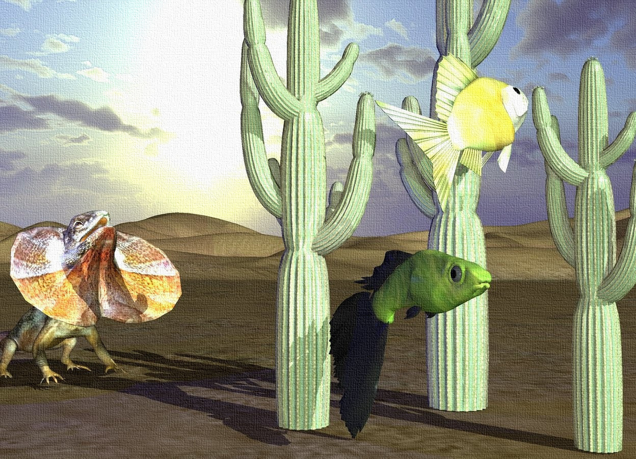 Input text: a 1st 8 foot tall cactus. a 2nd 10 foot tall cactus is 1 foot to the right of the 1st cactus. it faces right.  a 3rd 6 foot tall cactus is 1 foot in front of the 2nd cactus. it faces southwest. a 2.5 foot tall [stained glass] goldfish is in front of and -.5 foot to the right of the 1st cactus. it is 3.5 feet above the ground. it faces east. it leans 25 degrees to the back. a 3 foot tall [stained glass] guppy is -1 foot to the right of and -.5 foot in front of the 1st cactus.  a 4 foot tall lizard is 3 feet behind and -1 foot to the left of the 1st cactus. it faces the cactus. the sun's azimuth is 160 degrees. the sun's altitude is 35 degrees. the sun is sea mist blue. a navy light is above and -1 foot in front of the lizard. a malachite green light is 10 feet in front of the guppy.
