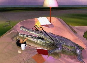 a shiny sand dune .a shiny crocodile is -92 inches above the sand dune.the crocodile is facing left.the crocodile is leaning 25 degrees to the north.a blue-violet light is above the crocodile.the sun is lilac. a large floor lamp is .3 feet behind and -7 feet above the crocodile. a .8 feet tall  optical device is -4.4 feet left of and -3 feet above the crocodile. it faces left. it leans 45 degrees to the back. 1st book is -2.4 feet left of and -3 feet above and -1.4 feet  in front of the crocodile. it faces northeast. it leans 34 degrees to the back. a large  black ashtray is .2 feet north of and .4 feet west of and -.07 feet above  the book. it leans 17 degrees to the southwest. a large shiny  [rust] pipe is -.4 feet above and -1.57 feet left of the ashtray. a coffee mug is in front of the ashtray. it faces left. 2nd large book is left of and -4.6 feet above the floor lamp. it leans 60 degrees to the back. a orange light is -.58 feet above the floor lamp. a clear gray xi is -.4 feet above and -.2 feet left of the pipe. it faces back. it leans left. the ground is [swamp]