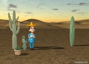 there is a desert. there is a cactus in the middle of the desert. 40 inch in front of the cactus is a cactus. several inch to the left side of the cactus is a cactus. 100 inch to the left of the organ pipe cactus is a man. a hat is -4 inch above the man.