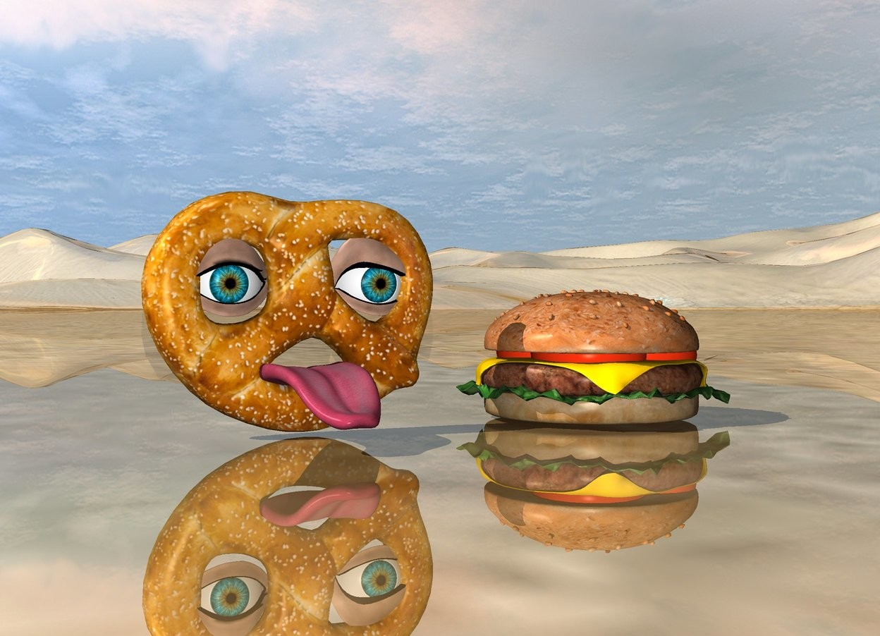 Input text: the large tongue is in front of the large pretzel. it is 1 inches above the ground.  the large eyeball is two inches above  the tongue. it is behind the tongue. it is -1.3 inches left of the tongue.  the second large eyeball is two inches above the tongue. it is  behind the tongue. It is -.5 inches  right of the tongue.  the ground is shiny.  the large hamburger is 3 inches right of the pretzel.