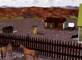 a house. a small building is 20 feet southwest of the house. a pen is 10 foot southeast of the house. it is facing west. an outhouse is 10 feet northwest of the house. a big fence is 55 feet in front of the house. it is 100 feet long. a well is 18 feet in front of the house. it is -3 feet west of the house. a  big chicken is 3 feet in front of the small building. another big chicken is 4 feet east of the small building. it is facing east. a chicken is 1 foot south of the big chicken. a cowboy is 5 feet in front of the house. a vehicle is 3 feet east of the house. it is facing east. a woman is north of the well. a cowboy is 8 feet north of the fence. a horse is 2 feet south of the fence.it is facing north. another horse is 4 feet east of the horse. it is facing west.