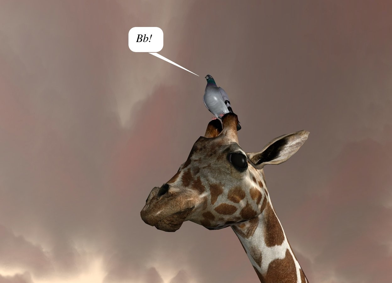 Input text: the pigeon is -1.1 inches above and -2.3 foot in front of the giraffe. the light is 1 foot above and 3 feet to the right of the giraffe.