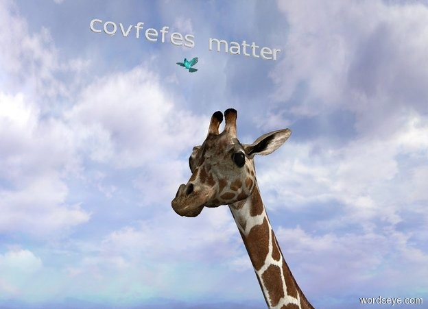 "Input text: the aqua bird is 3 inches above and -6 inches in front of the giraffe. the light is 1 foot above and 3 feet to the right of the giraffe. The very small ""covfefes matter"" is 4 inches above the bird. It is facing southeast."
