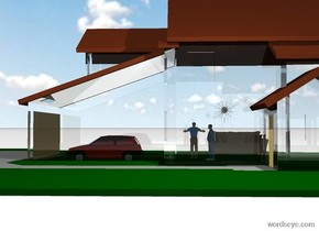 a 10 foot tall clear white building. a 1st 1.9 foot tall person is -9.8 feet above the building. a 2nd 2 foot tall person is in front of the 1st person. he is facing right. a 1.5 foot tall sofa is 5.3 feet to the left of and behind the 1st person. it faces right. a 1 foot tall flat dark gray sun symbol is -4 feet to the right of the building. it is above the 1st person. it faces right. the ground is white. a 1.5 foot tall car is -14 feet in front of the building. a beige light is -5 feet above and -3 feet to the right of the building. it is noon.