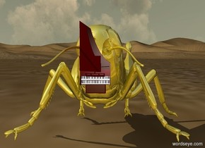 The huge gold grasshopper. The keyboard is -5 inches in front and -3.9 inches above the grasshopper. It is 1.5 inches wide. It is leaning 90 degrees to the front.