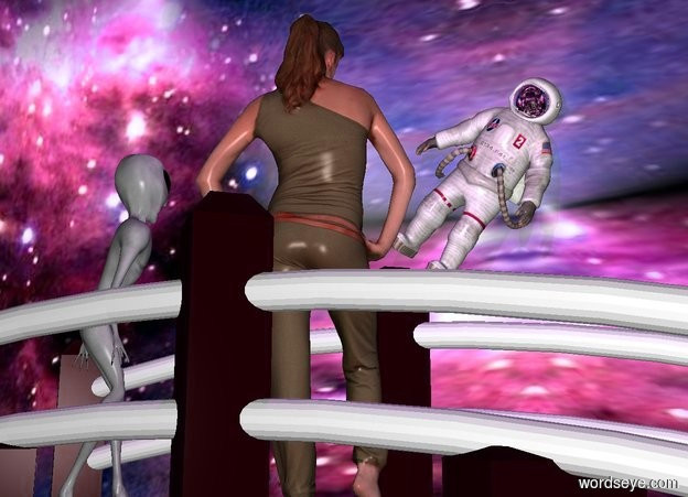 Input text: a upside down 40 feet tall part.a bridge is -20 feet above the part.the part is texture.a 5 feet tall woman is on the bridge.a 5 feet tall man is 6 feet in front of the woman.the man is leaning 40 degrees to the west.the man is facing the woman.the man's visor is silver.the texture is 10 feet tall.a alien is 6 inches right of the woman.the alien is facing southwest.the man is -2 feet above the women.a purple light is 6 inches above the woman.