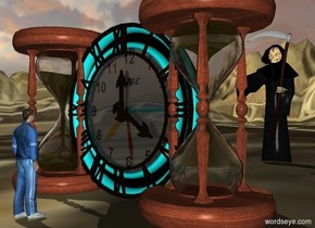 a first giant clock.a second giant clock is behind the first clock.a 2 feet tall man is 2 feet in front of the first clock.the man is facing the first clock.a first giant hourglass is -12 inches left of the first clock.a second giant hourglass is -12 inches right of the clock.the second hourglass is upside down.the ground is 130 feet tall.the ground is [time].a 5 feet tall grim reaper is 6 feet behind the second clock.