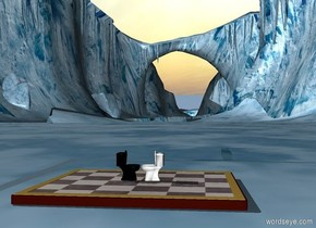 a tiny white toilet is on a huge chessboard. a tiny black toilet is on the chessboard. the black toilet is facing the white toilet. the white toilet is facing the black toilet.