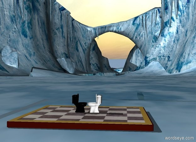 Input text: a tiny white toilet is on a huge chessboard. a tiny black toilet is on the chessboard. the black toilet is facing the white toilet. the white toilet is facing the black toilet.