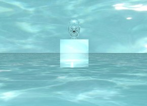 there is a large silver cube. the large silver skull is on top of the cube. it is noon.the ground is water. the water texture is on the sky. the texture is 4500 feet wide.