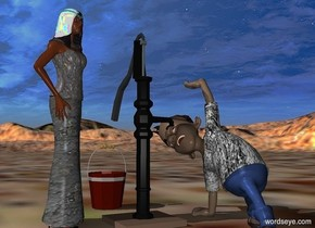 a 5 feet tall pump.a boy is right of the pump.the boy is facing west.the boy is -2.4 feet in front of the pump.the boy's shirt is [dirt].the boy is 50% dark.a woman is left of the pump.the woman is [dirt].the woman is facing southeast.a bucket is behind the pump.the ground is [arid].
