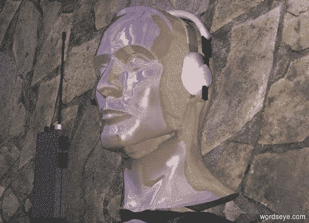 Input text: a shiny head.a headset is -6.5 inches above the head.the headset is -8 inches behind the head.a dull walkie talkie is 2 inches in front of the head.the headset is -7.8 inches left of the head.a flat wall is 2 inches behind the head.the wall is stone.the ground is clear.the wall is 2 inches in the ground.